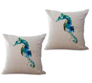 set of 2 sealife marine nautical seahorse ocean animal cushion cover
