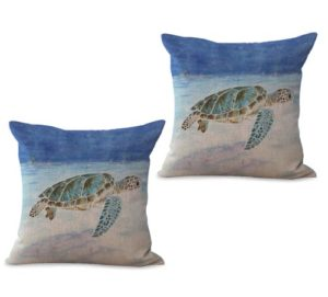 set of 2 sealife marine nautical turtle ocean animal cushion cover