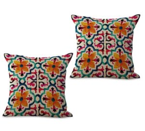 set of 2 retro vintage floral cushion cover