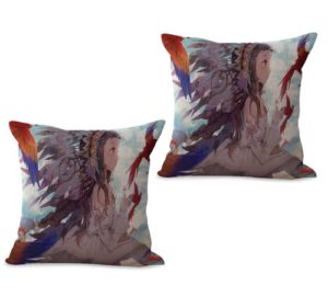 set of 2 native American fairy headdress cushion cover