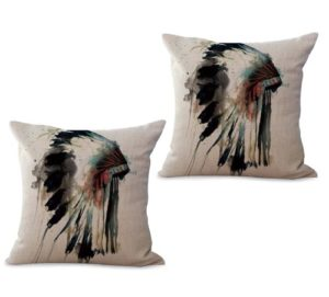 set of 2 Native American Headdress Water Color cushion cover