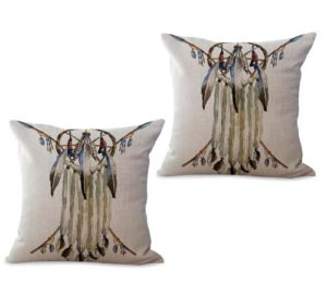 set of 2 Native American Headdress cushion cover