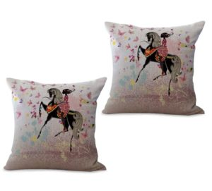 set of 2 black beauty fairy flower horse cushion cover