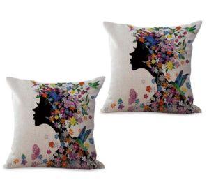 set of 2 black beauty fairy flower cushion cover