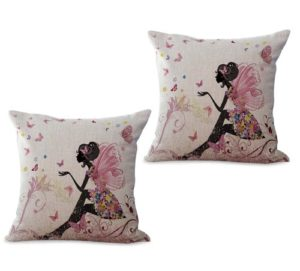 set of 2 black beauty fairy flower cushion cover