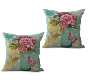 set of 2 English vintage flower cushion cover