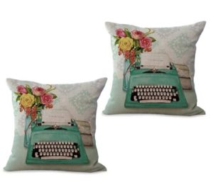 set of 2 English vintage flower typewriter cushion cover