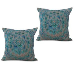 set of 2 geometric moroccan blue grey cushion cover