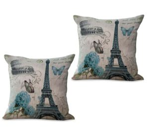 set of 2 Eiffel Tower Paris vintage flower cushion cover