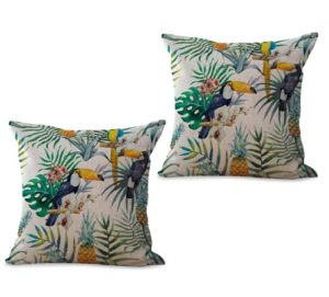 set of 2 tropical plant hibiscus floral toucan cushion cover