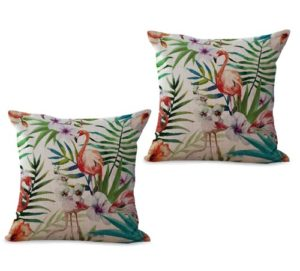 set of 2 tropical plant hibiscus floral flamingo toucan cushion cover