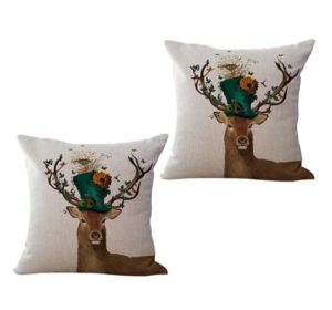 set of 2 deer bird house animal cushion cover