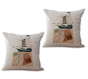 set of 2 sailing boat postcard cushion cover