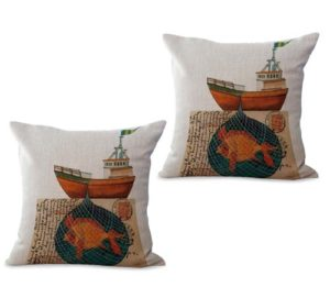 set of 2 postcard ship cushion cover