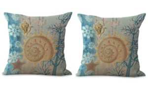 set of 2 starfish nautical seashell cushion cover