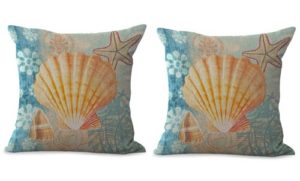 set of 2 scallop seashell nautical cushion cover