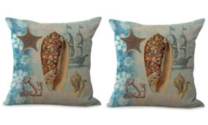 set of 2 costal beach anchor boat seashell cushion cover