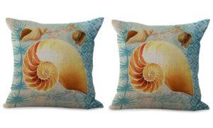 set of 2 marine nautical seashell cushion cover