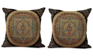 set of 2 Tibetan mandala cushion cover sacred geometry