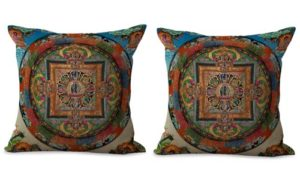 set of 2 Buddhism Tibet mandala cushion cover