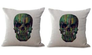 set of 2 sugar skull cushion cover Dia de Los Muertos