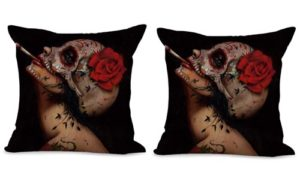 set of 2 Day Of Dead sugar skull cushion cover