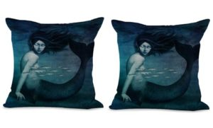 set of 2 legendary aquatic ocean creature mermaid cushion cover