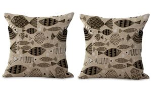 set of 2 marine nautical beach fishes animal cushion cover