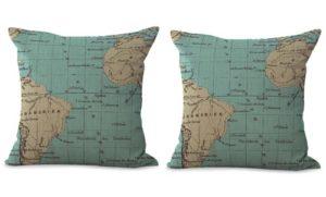 set of 2 world map travel sailing cushion cover