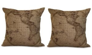 set of 2 vintage world map beach travel cushion cover