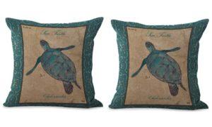 set of 2 sea creature turtle cushion cover