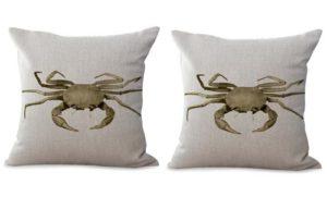 set of 2 coastal beach crab cushion cover