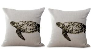 set of 2 sea life coastal turtle cushion cover