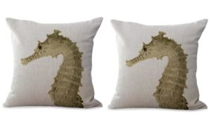 set of 2 seahorse marine fish ocean cushion cover