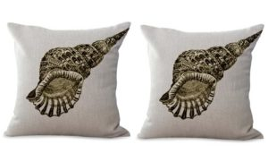 set of 2 marine nautical seashell cushion cover