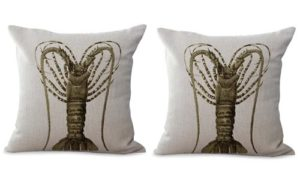 set of 2 coastal beach ocean animal lobster cushion cover