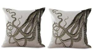set of 2 marine nautical sea life octopus cushion cover