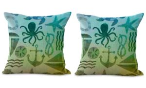 set of 2 ocean life nautical sailor cushion cover