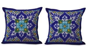 set of 2 Mexican talavera cushion cover