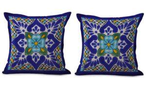 set of 2 Mexican talavera cushion cover