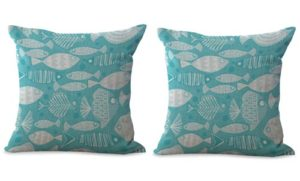set of 2 ocean marine life animal fish cushion cover
