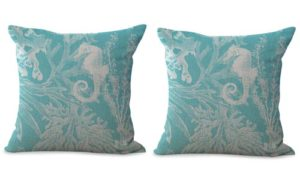 set of 2 marine ocean sea horse grass plant algae cushion cover