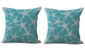 set of 2 starfish sea star cushion cover ocean seaside