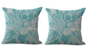 set of 2 marine ocean sea grass plant algae cushion cover