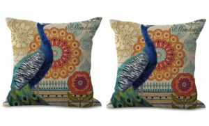 set of 2 peacock retro cushion cover