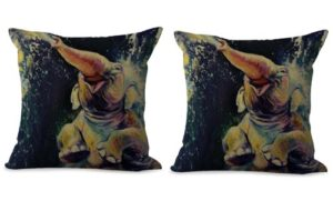 set of 2 lucky elephant animal cushion cover