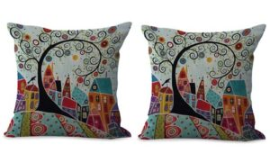 set of 2 contemporary cityscapes cushion cover