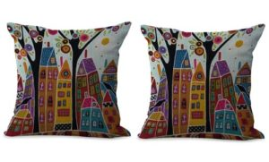 set of 2 city scenery art cushion cover