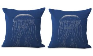 set of 2 vintage sea life jellyfish cushion cover