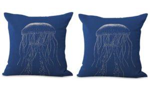 set of 2 vintage sea life jellyfish cushion cover
